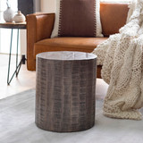 Troyes Natural Grey Acacia Wood Side Table room view