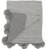 Pom Pom Knit Throw in Soft Grey