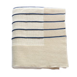 Caspian Sea Blue and Cream Striped Throw