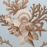 Shelldon 24 x 24 Linen Pillow - Blue Surf close up