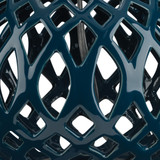 Fretwork Table Lamp in Navy Blue Ceramic close up