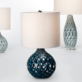 Fretwork Table Lamp in Navy Blue Ceramic table view