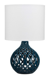 Fretwork Table Lamp in Navy Blue Ceramic