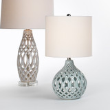 Fretwork Table Lamp in Pale Blue Ceramic group