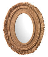 Fringe Oval Mirror in Natural Jute