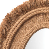 Fringe Oval Mirror in Natural Jute close up