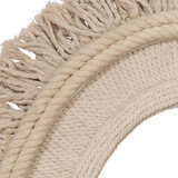 Fringe Oval Mirror in Off-White Natural Jute close up
