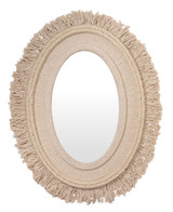 Fringe Oval Mirror in Off-White Natural Jute