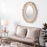 Fringe Oval Mirror in Off-White Natural Jute room view