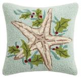 Aqua Holiday Sea Star Hooked Pillow