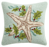 Aqua Holiday Sea Star Hooked Pillow
