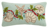 Aqua Holiday Shells 12 x 20 Wool Hooked Pillow