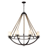 Natural Rope 8-Light Chandelier in Aged Bronze with White Glass