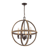 Natural Rope 4-Light Chandelier in Oil Rubbed Bronze