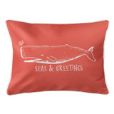 Vintage Coral Whale Christmas Lumbar Pillow