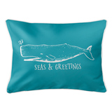 Vintage Light Turquoise Whale Christmas Lumbar Pillow