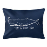 Vintage Navy Whale Christmas Lumbar Pillow