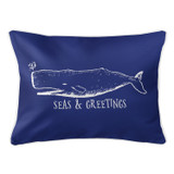 Vintage Dark Blue Whale Christmas Pillow