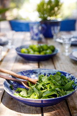 Lisboa Round Serving Bowl with salad