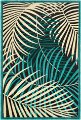 Teal Palms Hand-Hooked Area Rug