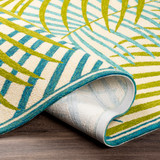 Tropic Green Palms Hand-Hooked Area Rug fold