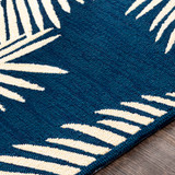 Navy Blue Palms Hand-Hooked Area Rug edge