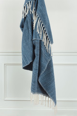 Denim Waves Casual Knit Fringed Throw