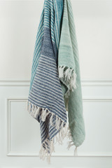 Shore Stripes Casual Knit Throw with Fringe