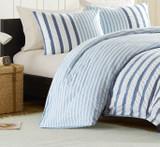 Sutton Blue Striped Bedding -  close up
