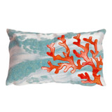 Coral Branch and Aqua Waves 12 x 20 Pillow