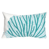 Turquoise Coral Fan Indoor-Outdoor 12 x 20 Pillow
