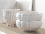 Sea Urchin Shaped White Aparte Serving Bowl with shell footed bowls