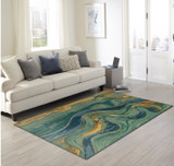 Blue Panorama Shore Hand-Tufted Wool Rug room view