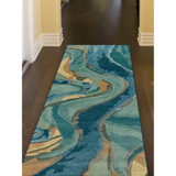 Blue Panorama Shore Hand-Tufted Wool Rug hallway view