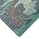 Storm Aqua Hand-Tufted Wool Rug corner close up