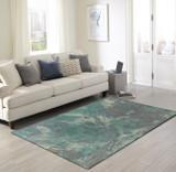 Storm Aqua Hand-Tufted Wool Rug room view