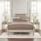 Beckett Curvy Whitewashed Nightstand with bed
