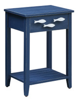 CVFZR3562-Nautical Navy Accent Table with Fish