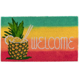 Warm Welcome Pineapple Tropical Drink Outdoor 18 x 30 Door Mat