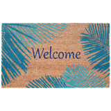 Welcome Door Mat with Blue Palms -18 x 30