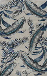 Grey-Blue Palms Tropics Rug