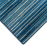 Marina Blue Striped Area Rug corner