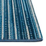 Marina Blue Striped Area Rug pile and close up