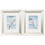 Silver Framed White Egret Prints - Set of Two