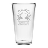 Personalized Crab Pint Glasses- Set of 4