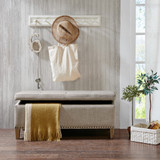 Taupe Linen Tufted Storage Bench rom view