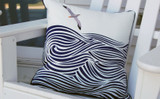 Albatross and Waves Embroidered Pillow on chair