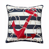 Blue Striped Red Anchor Pillow main image