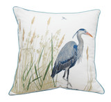Blue Heron and Salt Marsh Embroidered Pillow