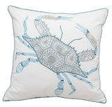 Playful Crab Embroidered Lumbar Pillow
